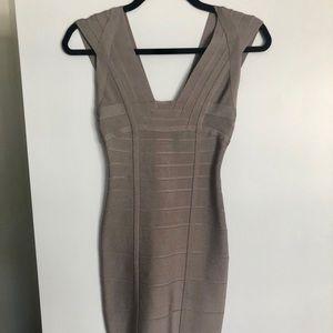 Herve Leger Mini Bandage Dress XXS (Taupe Grey)